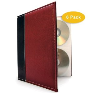 Bellagio Italia CD-DVD Storage Binders 6 Pack Burgundy